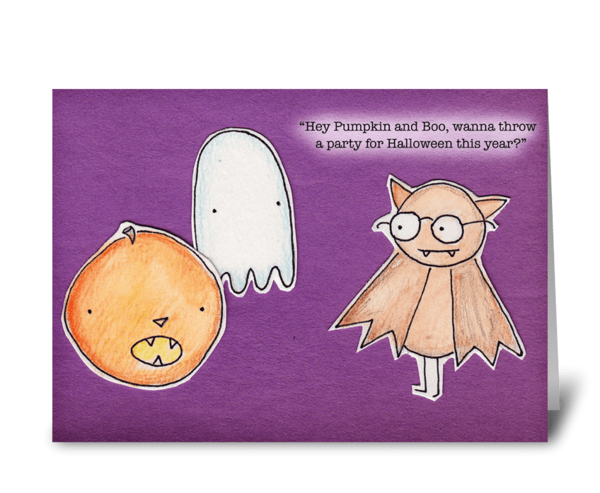 Boo, Bat & Pumpkin greeting card