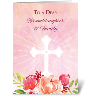 Granddaughter & Family Religious Easter greeting card