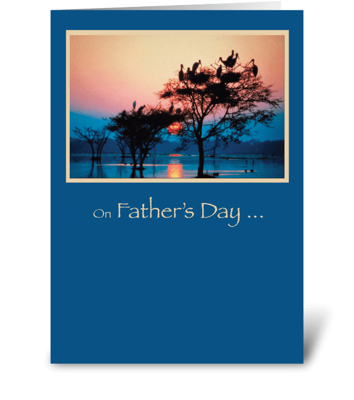 Father's Day, Trees in Water, Sunset greeting card