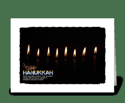 happy hanukkah candles lite greeting card