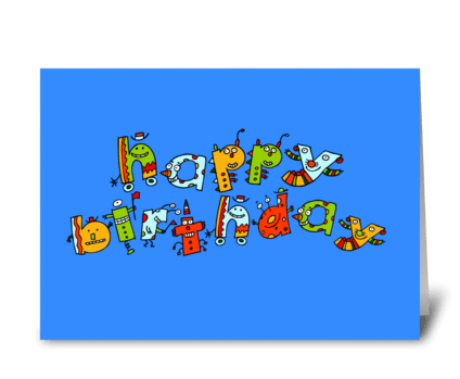 Happy Birthday Monsters greeting card