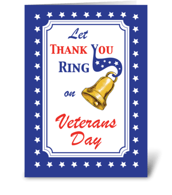 Thank You Veteran's Day Bell, Red, White greeting card