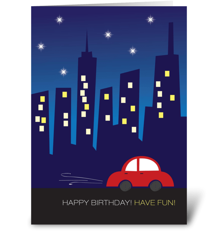 A drive by the city greeting card