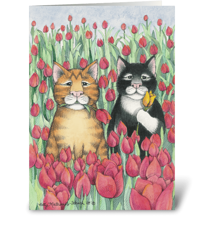 Tulip Cats Birthday #47 greeting card