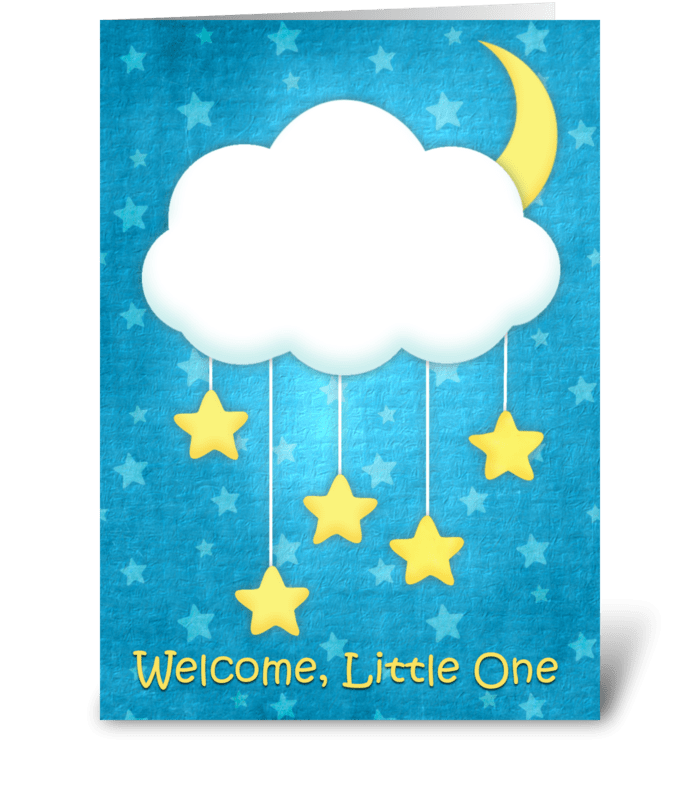 Cloud Mobile Welcome Baby greeting card