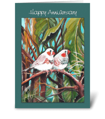 Finches, Anniversary Greeting greeting card