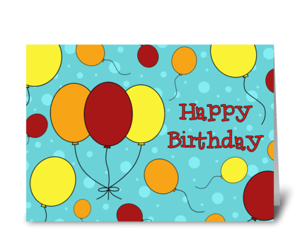 Happy Birthday Colorful Balloons greeting card