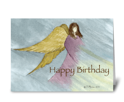 Angel Birthday Blue greeting card