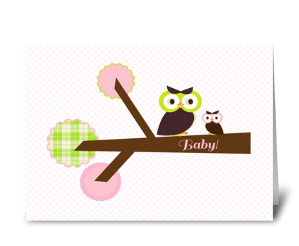 Owl {pink} Baby Shower greeting card