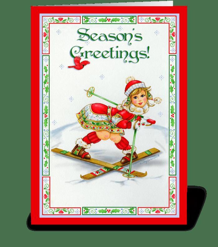 Season's Greetings Skier greeting card