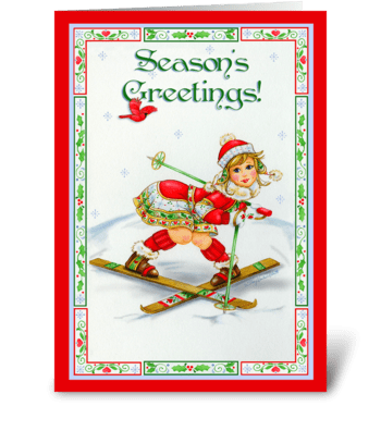 Season's Greetings Skier greeting card
