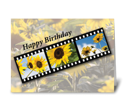 Birthday Sunflower Filmstrip greeting card