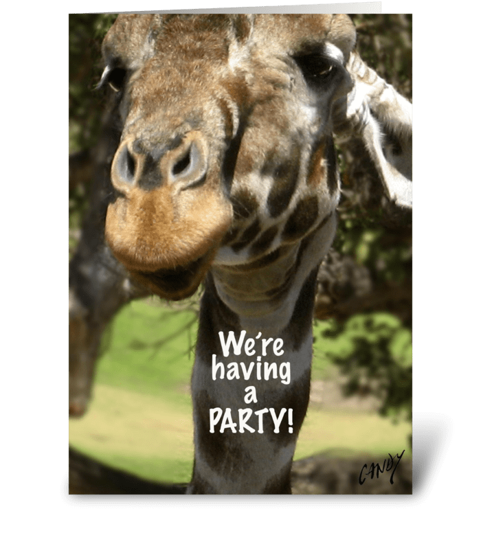 Giraffe party invitation. greeting card