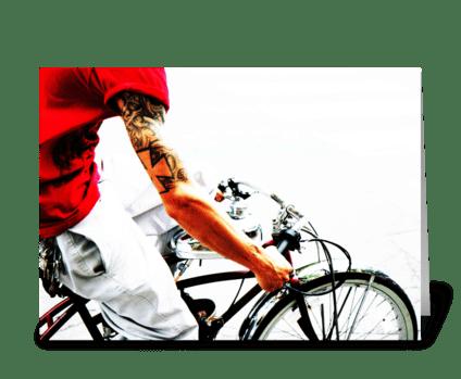 Motorized Bicycle greeting card