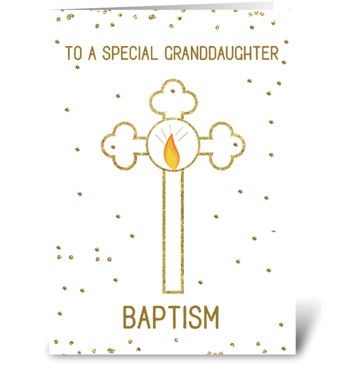 Granddaughter Baptism Gold Cross greeting card