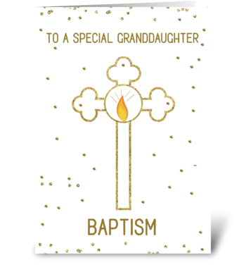 Granddaughter Baptism Gold Cross greeting card