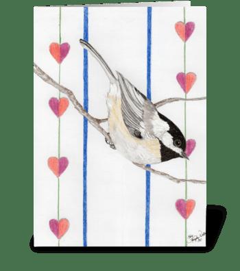 Valentine Chickadee greeting card