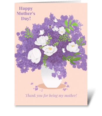 Lilac and Peonies  greeting card