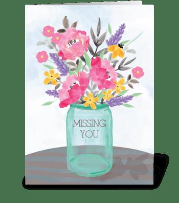 Missing You Mother's Day Jar Vase  greeting card