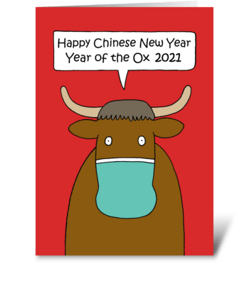 Chinese New Year of the Ox Covid 19 greeting card