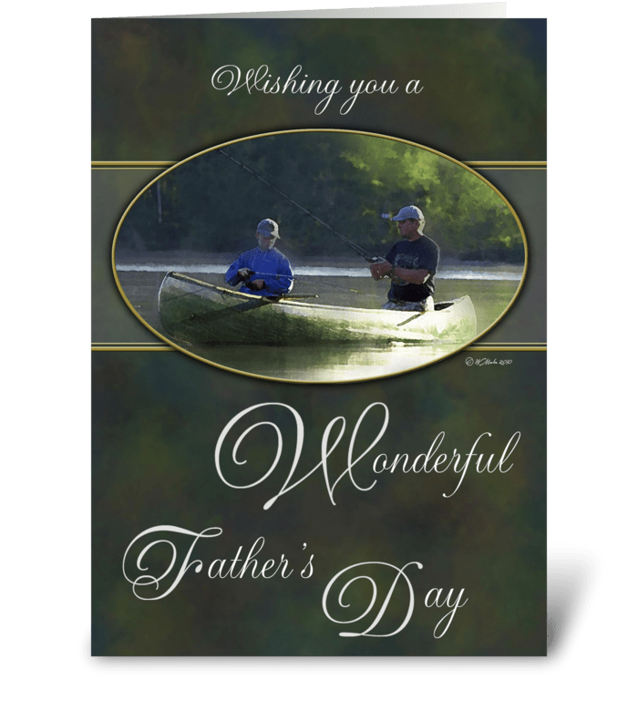 Father's Day Father and Son Fishing greeting card