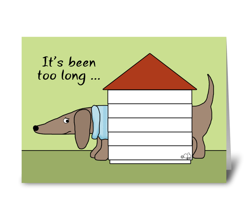 Missing You-Dachshund in Dog House greeting card