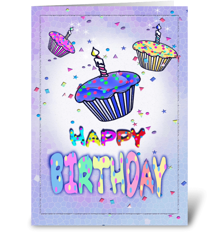 Colorful cupcake ART, Birthday Card greeting card
