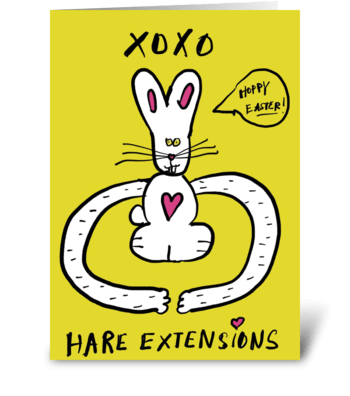 Hare Extensions-Bunny Hugs-Happy Easter greeting card