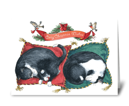 Cozy cats' Christmas greeting card
