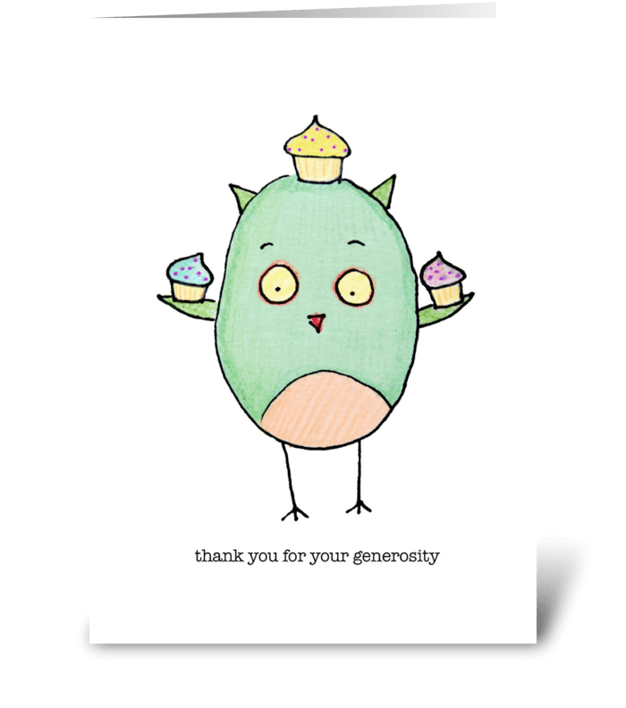 Generous Owl with Cupcakes greeting card