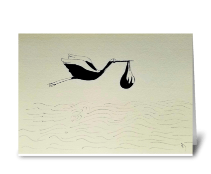 Stork over clouds greeting card
