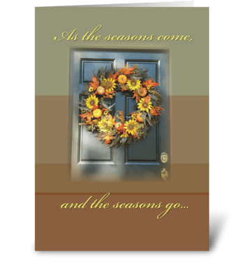 Wreath on Door Friends Thanksgiving greeting card