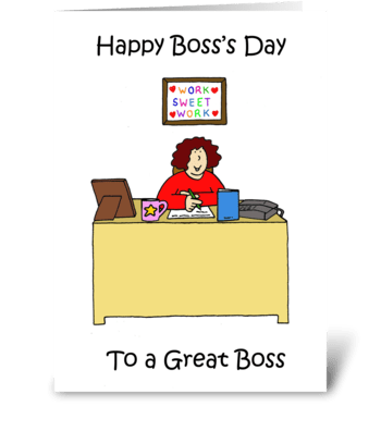 Happy Boss's Day for Female Boss. greeting card