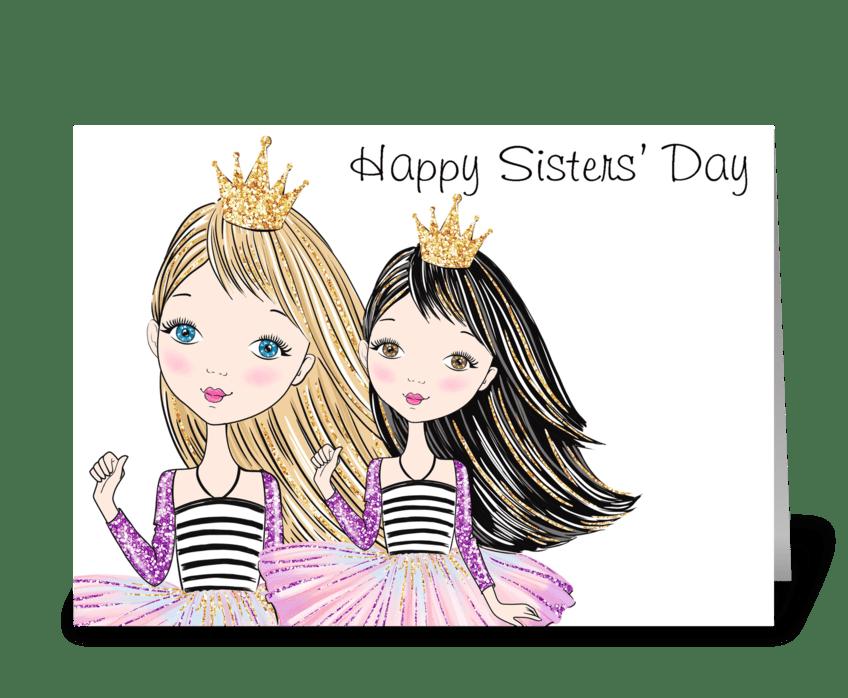Sister Princesses greeting card