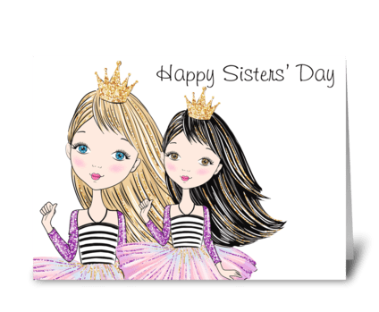 Sister Princesses greeting card