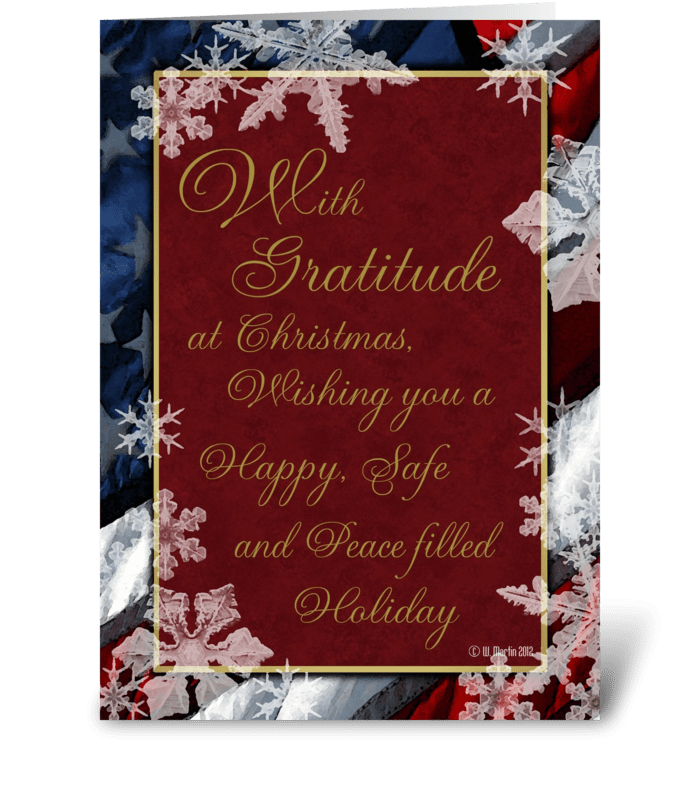 Patriotic Snowflakes Christmas Card greeting card
