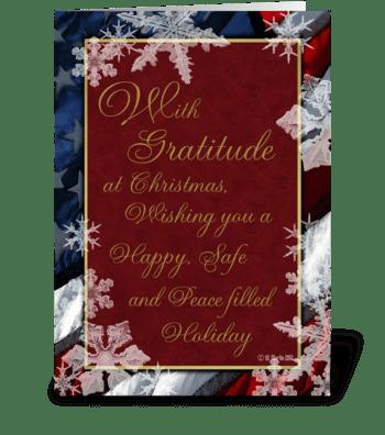 Patriotic Snowflakes Christmas Card greeting card