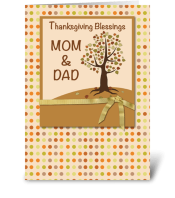 MOM & DAD, Thanksgiving Blessings, Polka greeting card