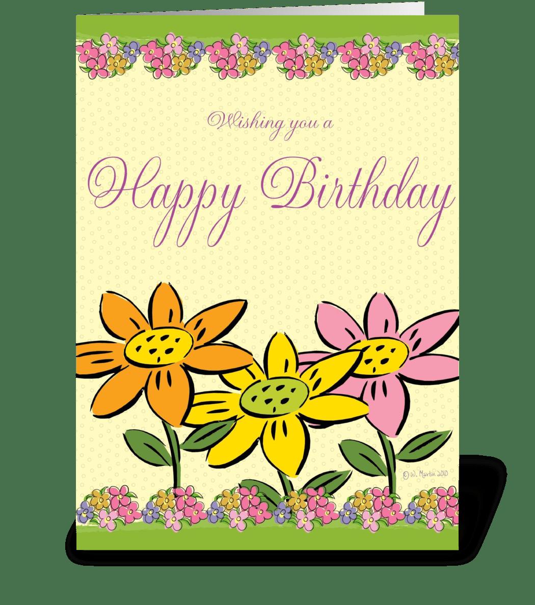 three flowers birthday card  send this greeting card