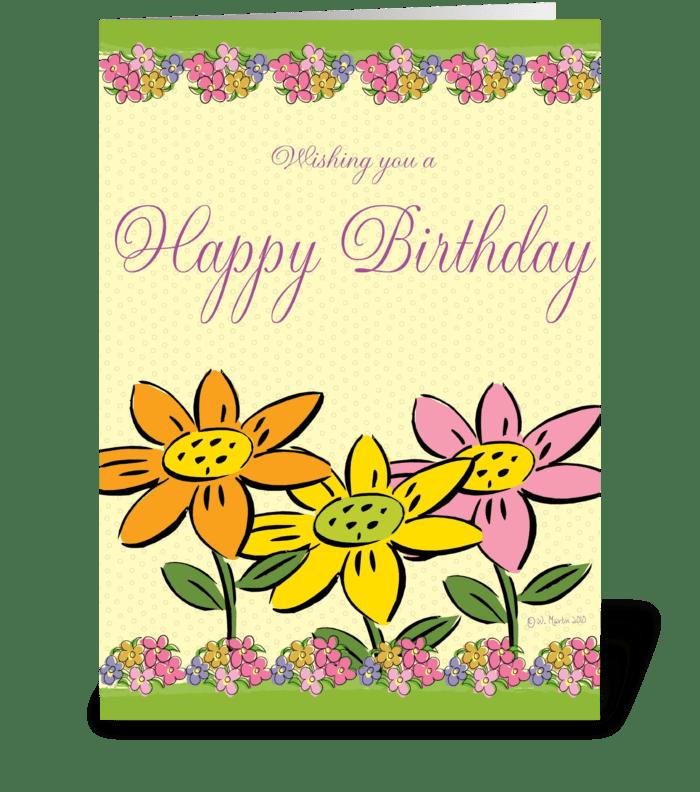 Three Flowers Birthday Card greeting card