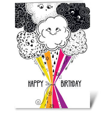 Happy birthday bouquet of clouds greeting card