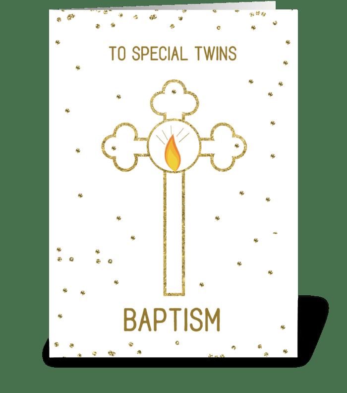 Twins Baptism Gold Cross greeting card