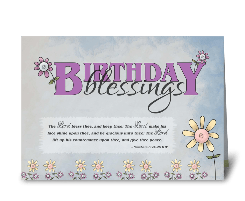 Birthday Blessings Flowers Bible Verse Greeting Card