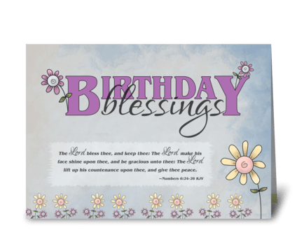 Birthday Blessings flowers & bible verse greeting card