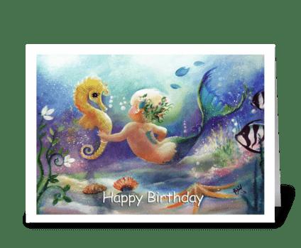 baby Mermaid, Happy Birthday greeting card