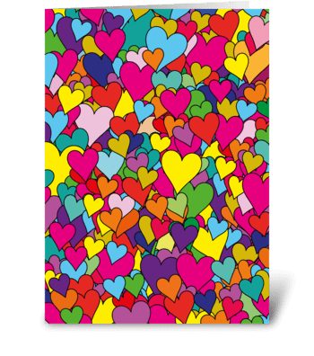 Multi-colorful hearts greeting card