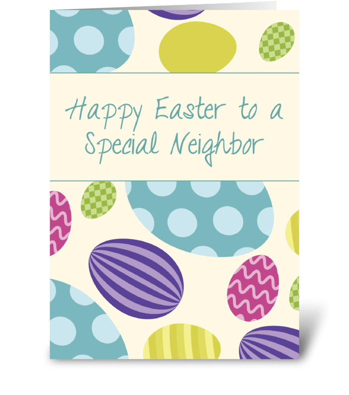 Neighbor Easter Colorful Eggs greeting card