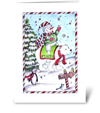 Peaceful Snowman greeting card
