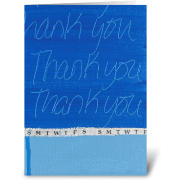 Thank You Painting - Blue-Week Ribbon greeting card