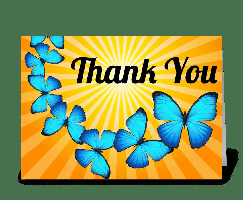 Thank You Butterflies in Sunlight greeting card